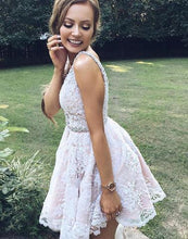 A-line V Neck Homecoming Dress Open Back Prom Dress Short Fashion Party Dress NA6920|Annapromdress