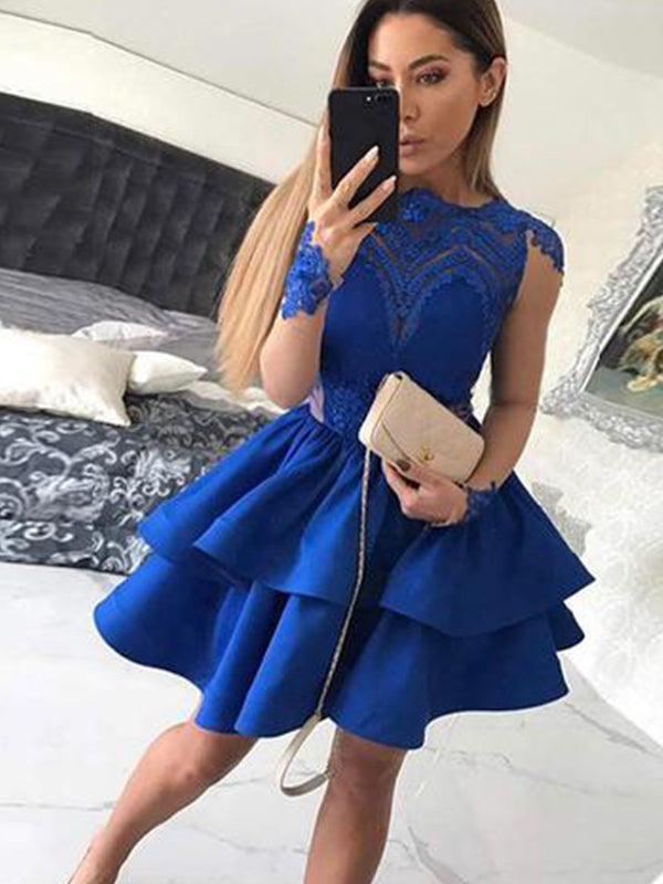 Royal Blue Homecoming Dress with Sleeves Lace Appliques Short Prom Dress Fashion Party Dress NA6922|Annapromdress
