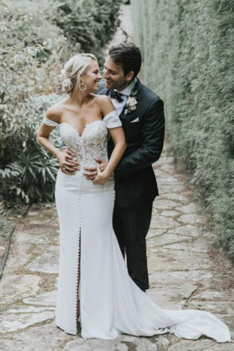 Off Shoulder Sweetheart A Line Wedding Dress with Split JKM312|Annapromdress