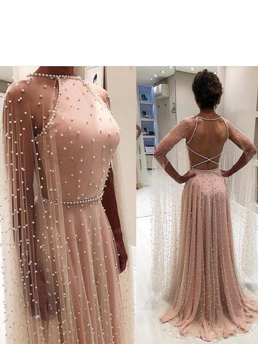 Sparkly Jewel Tulle A-line Prom Dresses Backless Gowns With Pearls JKU6315|Annapromdress