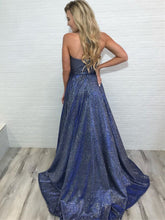Shining A-line Prom Dresses With Slit Spaghetti Straps Evening Gowns JKU6310|Annapromdress