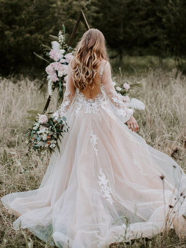 Chic Lace Embroidery Long Sleeve Bohemian Wedding Dress Open Back Rustic Wedding Dress PIN7192|Annapromdress