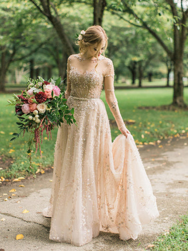 Charming Embroidery Long Sleeve A Line Wedding Dress with Sweep Train Sparkly Wedding Gown PIN7194|Annapromdress