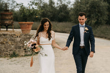 Unique Two Piece Wedding Dress with Sleeves A Line Rustic Wedding Dress Bridal Gown PIN7195|Annapromdress