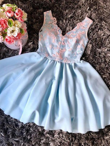 Peach Lace Pale Blue Satin V-neck Sleeveless Homecoming Dresses AN1206