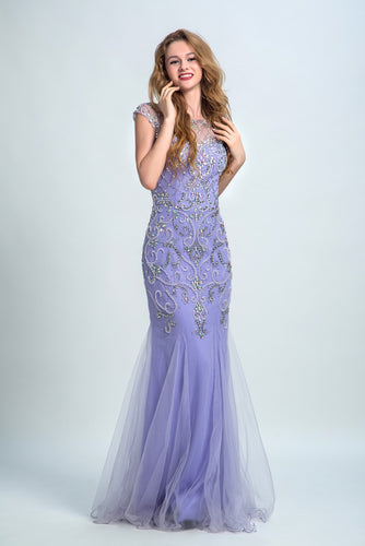 Prom Dresses 2017 Trumpet/Mermaid Scoop Floor-length Tulle Prom Dress/Evening Dress #AMY002