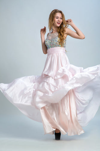 Prom Dresses Long A-line Scoop Floor-length Chiffon Prom Dress/Evening Dress AMY035