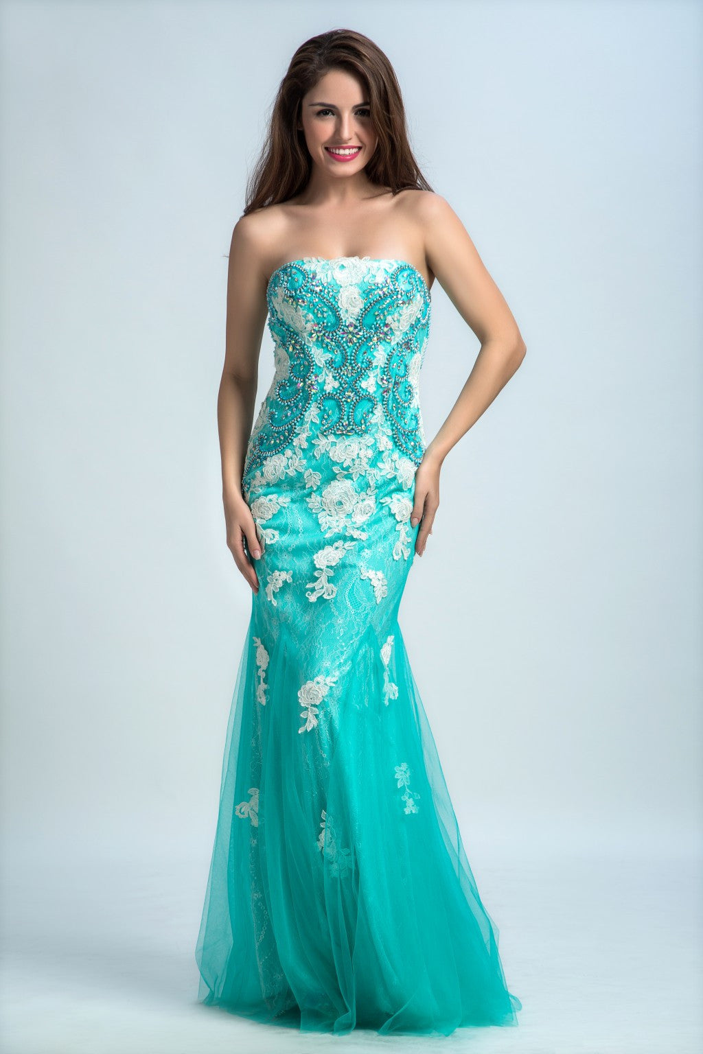 Prom Dresses Long Trumpet/Mermaid Strapless Floor-length Tulle Prom Dress/Evening Dress AMY040