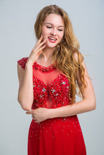 Red Prom Dresses 2017 Sheath/Column Scoop Floor-length Stain Prom Dress/Evening Dress AMY024