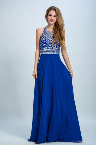 Royal Blue Prom Dresses A-line Scoop Floor-length Chiffon Prom Dress/Evening Dress AMY031