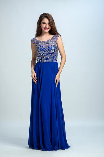 Royal Blue Prom Dresses A-line Scoop Floor-length Chiffon Prom Dress/Evening Dress AMY037