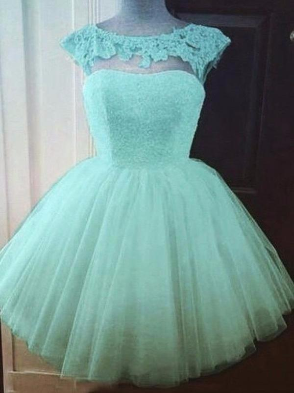 Chic Homecoming Dress  Scoop Appliques Tulle Short Prom Dress Party Dress SE0149