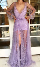 Luxurious Pearl Deep V neck Long Sleeve Prom Dresses with Slit Lavender Prom/Evening Dress SMT07215|Annapromdress