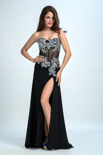 Sexy Prom Dresses 2017 Black Sheath Sweetheart Floor-length Evening Dress AMY026