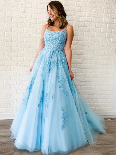 Sky Blue Tulle Appliques Scoop A-Line Long Prom Dress JKS8622