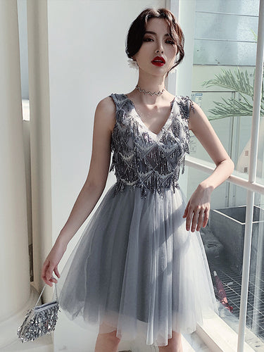 A Line V neck Beaded Silver Homecoming Dress with Straps Short Prom Dress,Party Dress TB334|Annapromdress