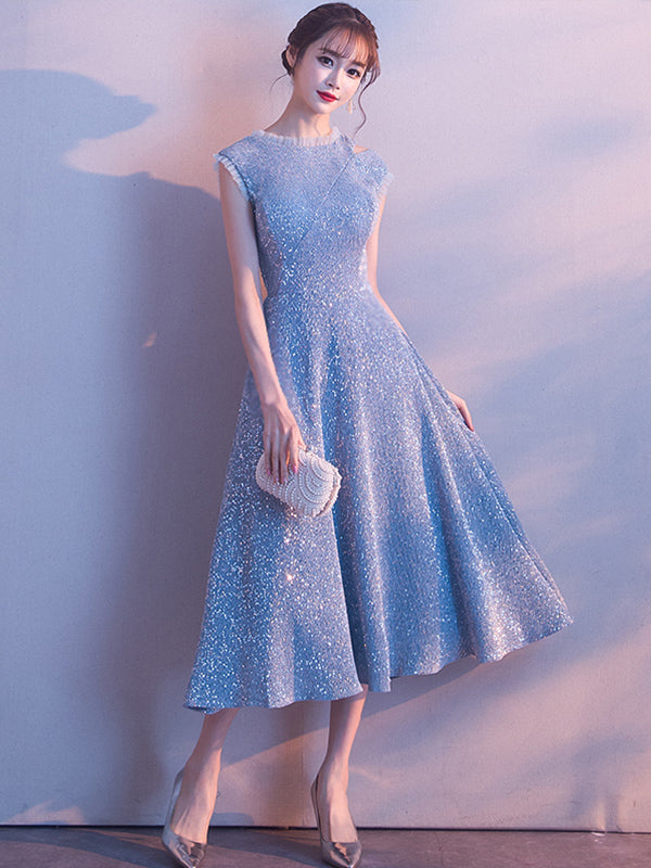 Cap Sleeve Light Blue Sparkly Homecoming Dress Tea Length Prom Evening Dress TB336|Annapromdress