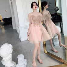 Chic Sequin Appliques Blush Cute Homecoming Dress with Sleeves Sexy V neck Short Prom Party Dress TB7331|Annapromdress