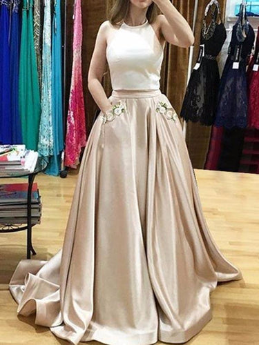 Two Piece Prom Dresses Halter Sweep Train Prom Dress with Appliques Pockets annapromdress