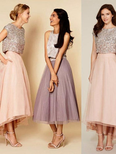 Two Piece Prom Dress Organza Long Bridesmaid Dresses Cheap Prom Dresses annapromdress