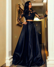 Two Piece Prom Dresses Long Sleeves Lace Black Evening Dress