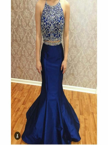 Two Piece Prom Dresses,Beading Royal Blue Prom Gown annapromdress.com