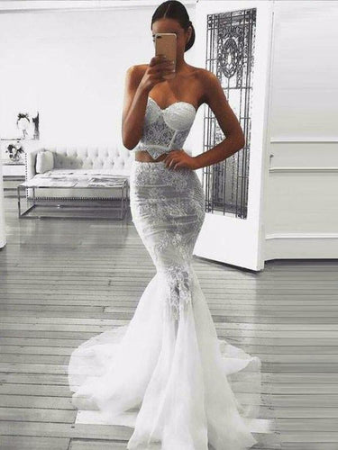 Two Piece Prom Dresses Sweetheart Sweep Lace Train Prom Dress annapromdress