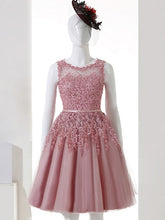 A-line Bateau Knee-length Sleeveless Tulle Homedress/Short Prom Dress VC415