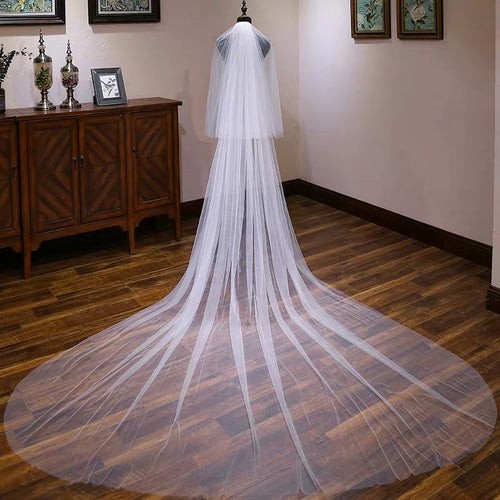 Ivory Tulle Wedding Veils Bridal Cathedral Veil JV001|Annapromdress