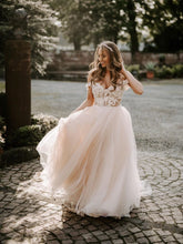 Wonderful Appliqued A-line Wedding Dresses With Cap Sleeves Tulle Gowns JKB5104|Annapromdress