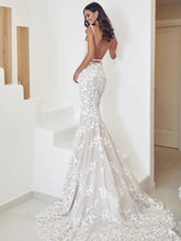 Spaghetti Straps Mermaid Wedding Dresses Lace Appliqued Gowns JKZ6207|Annapromdress