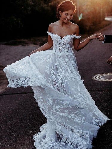 Alluring Off-the-shoulder A-line Wedding Dresses Lace Appliqued Gowns JKB5101|Annapromdress