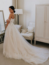 Off-the-shoulder A-line Wedding Dresses With Appliques JKB5105|Annapromdress