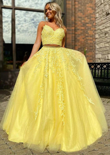 Yellow Tulle Appliques A-Line Long Two Piece Prom Dress JKZ8613|Annapromdress