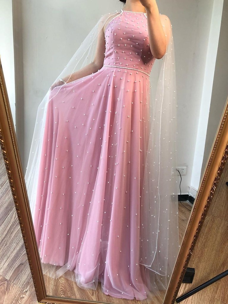 A-line Pink Tulle Pearls Jewel Neckline Long Prom Dress Formal Evening Gowns JKQ111|Annapromdress