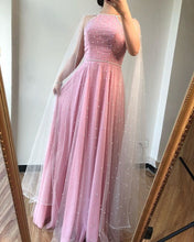 A-line Pink Tulle Pearls Jewel Neckline Long Prom Dress Formal Evening Gowns JKQ111