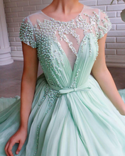 Mint Green Tulle Beaded A-Line Short Sleeves Long Prom Dress with Slit JKZ8721|SAnnapromdress
