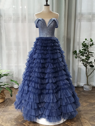 Off-the-Shoulder Navy Blue Tulle Ruffles A-Line Long Prom Dress JKZ8716|Annapromdress
