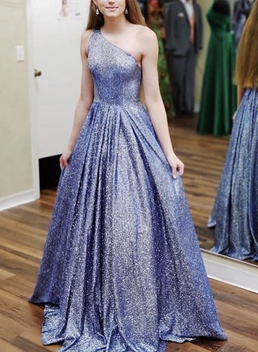A-Line One Shoulder Navy Blue Tulle Sparkle Prom Dress JKQ110|Annapromdress