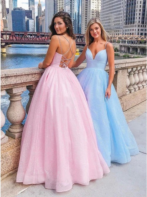 A-Line V-neck Spaghetti Straps Pink Tulle Long Prom Dress JKQ122