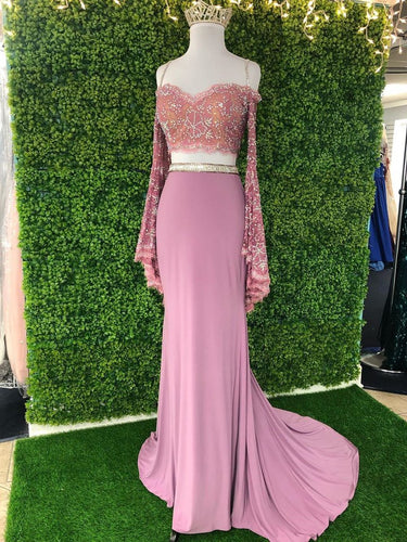 Sheath/Column Prom Dress Off-the-Shoulder Long Sleeve Two Piece Prom Dress JKQ120