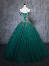 Off-the-shoulder Ball Gown Prom Dresses Beaded Long Prom Dress Evening Gowns JKM3019