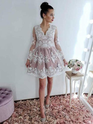 V neck Long Sleeve Lace Homecoming Dress Short Prom Dresses ANN146