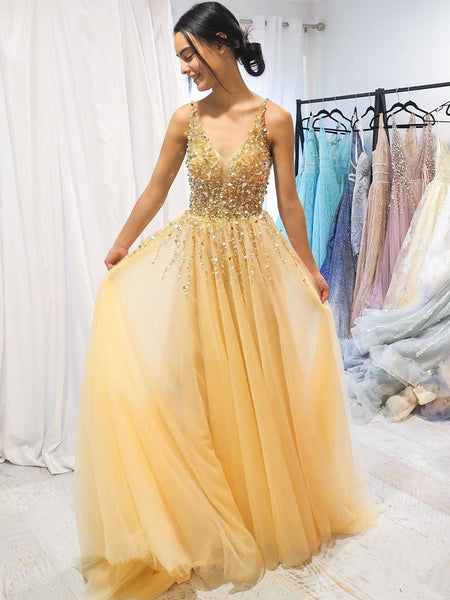 A-line V neck Yellow Sparkly Long Prom Dresses Gorgeous Formal Dresses NA4001|Annapromdress