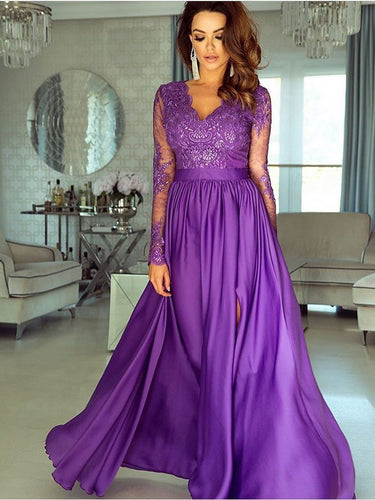 A-line V neck Long Sleeve Prom Dresses Lace Formal Gowns JKP402|Annapromdress