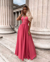 A-line V neck Lace Prom Dresses Watermelon Formal Gowns JKP403|Annapromdress