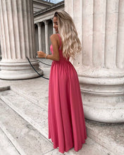 A-line V neck Lace Prom Dresses Watermelon Formal Gowns JKP403