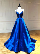 A-line Spaghetti Straps Royal Blue Long Prom Dresses Party Dresses JKM3015|Annapromdress