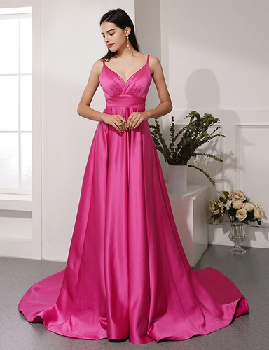 A-line Spaghetti Straps Fuchsia Long Prom Dresses Evening Gowns JKM3021|Annapromdress
