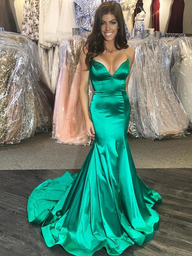 Trumpet/Mermaid Spaghetti Straps Hunter Long Prom Dresses Evening Gowns JKM3007|annapromdress